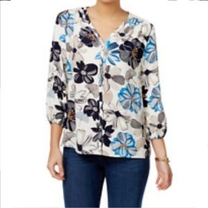 NWOT Charter Club Floral Buttoned down Blouse